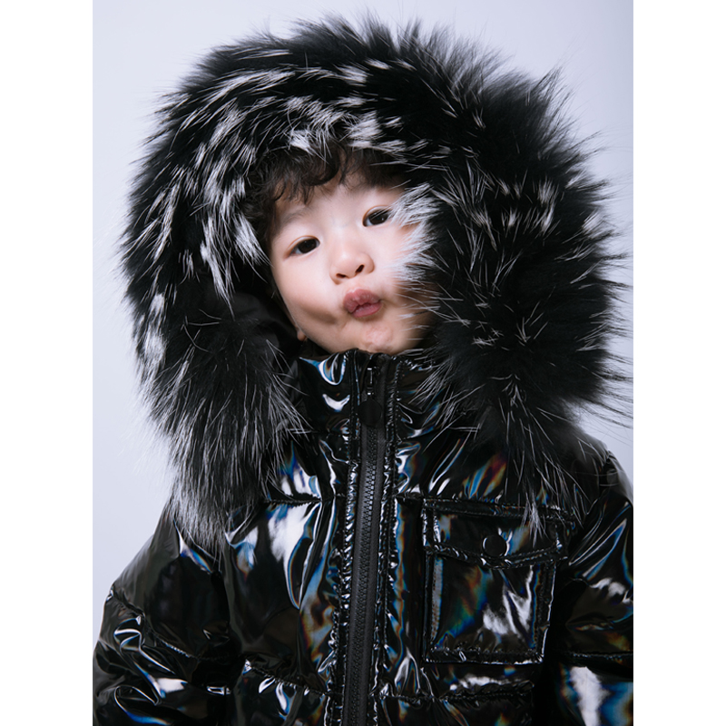 Childrens down jacket boys and girls medium length white duck down warm coat winter infant thickening female baby 2020