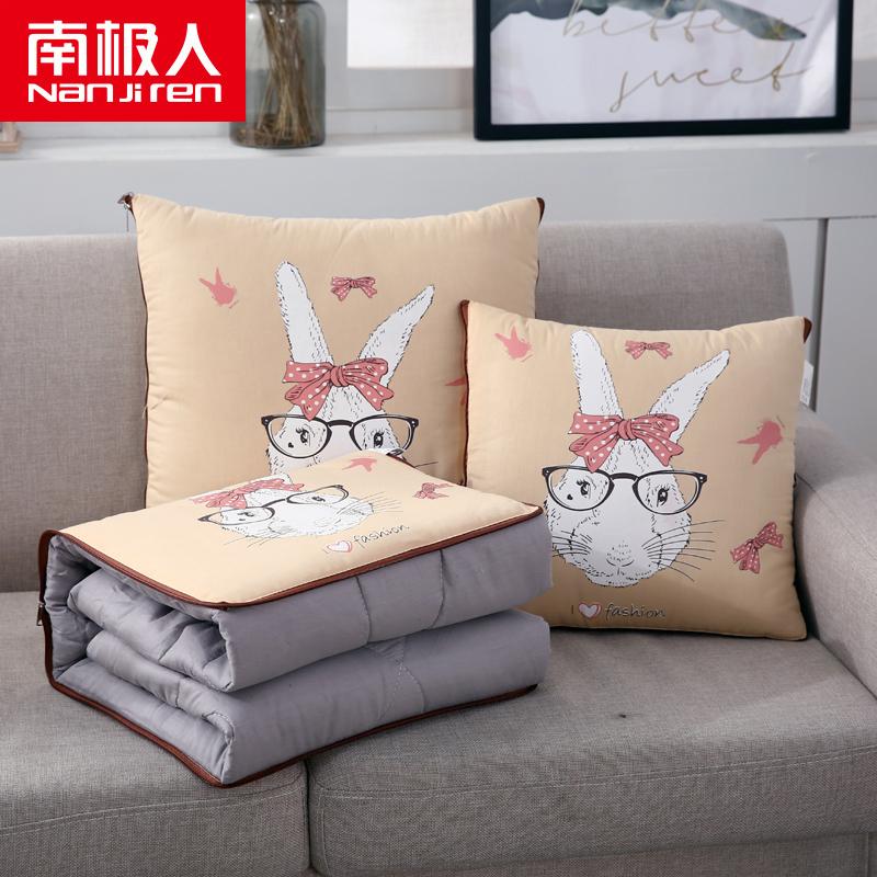 全棉抱枕被加大午睡被汽车两用靠垫被全棉小被子多功能二合一抱枕热销38件限时2件3折