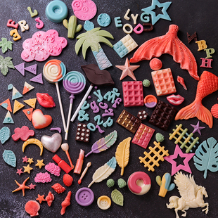 翻糖蛋糕模具巧克力硅胶海星华夫纽扣五角星爱心数字英文冰淇淋图片