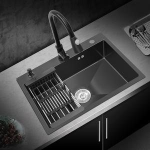 领15元券购买厨房黑色纳米304不锈钢家用洗菜盘