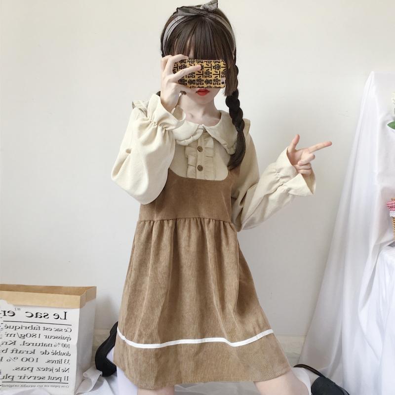 秋季日系软妹风可爱木耳边娃娃领拼接宽松假两件长袖连衣裙女学生