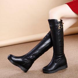 高筒靴女中跟女鞋子冬加绒加厚棉鞋雪地靴内增高长筒女靴子中筒靴