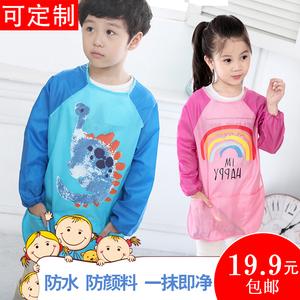 儿童画画罩衣宝宝防水围裙长袖幼儿园定制反穿衣小孩绘画美术护衣