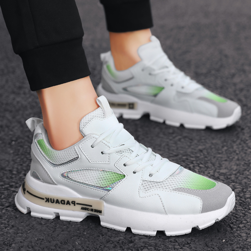 Summer breathable mens running leisure trend all-around high board shoes mens shoes Korean version of daddys white shoes