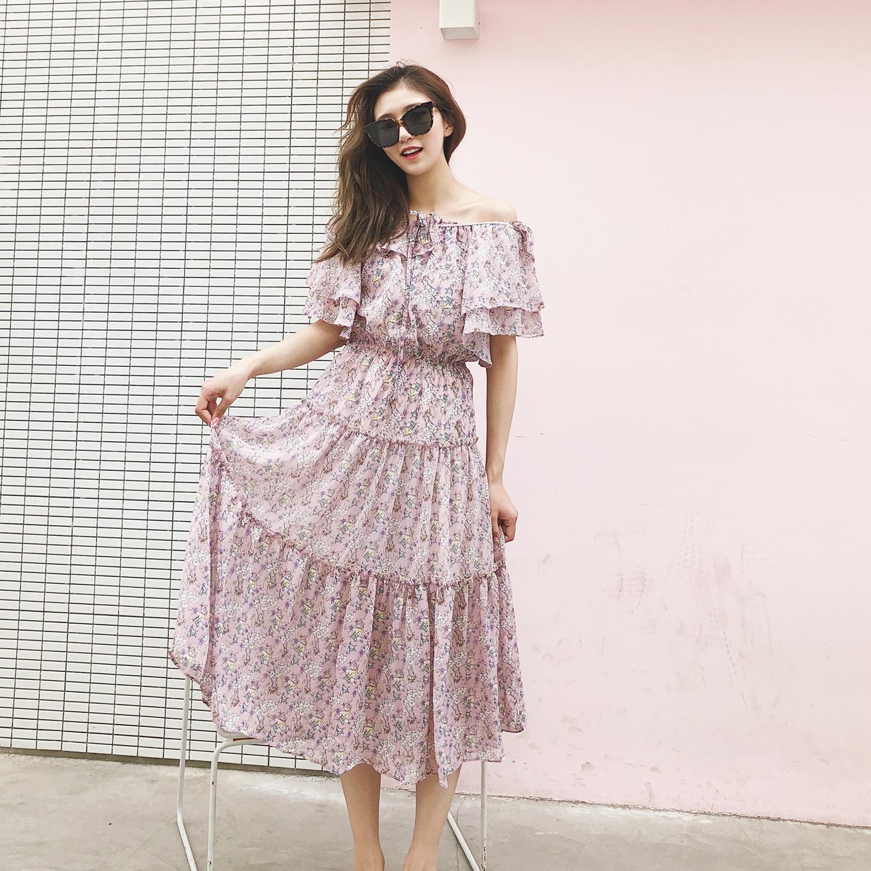 2018春夏新品女装  浪漫法式层叠碎花荷叶边一字肩女士长款连衣裙