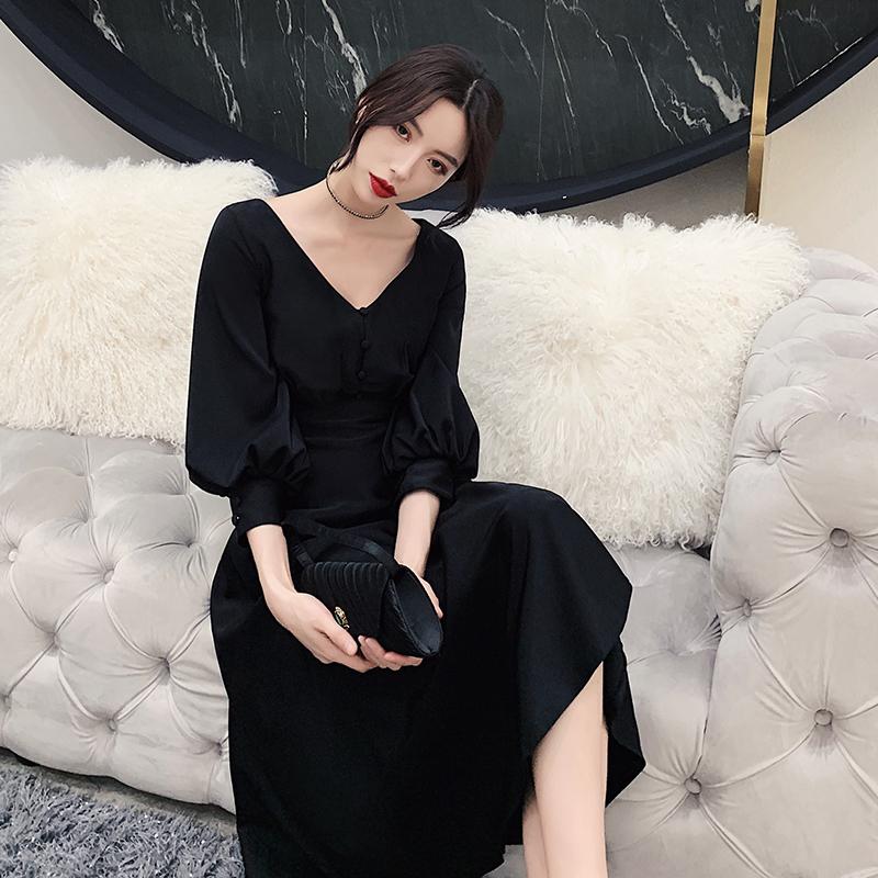 手慢无黑色小礼服宴会女2019新款秋季仙女洋装晚礼服生日派对时尚连衣裙
