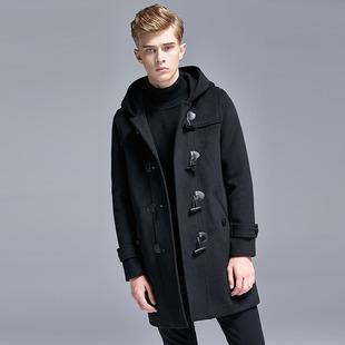 冬季羊绒牛角扣大衣男加厚羊毛呢子连帽外套时尚中长款韩版风衣潮