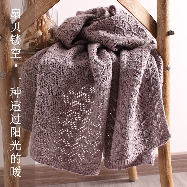 Wool scarf womens autumn and winter black and white solid color hollow out knitted Crochet for warmth