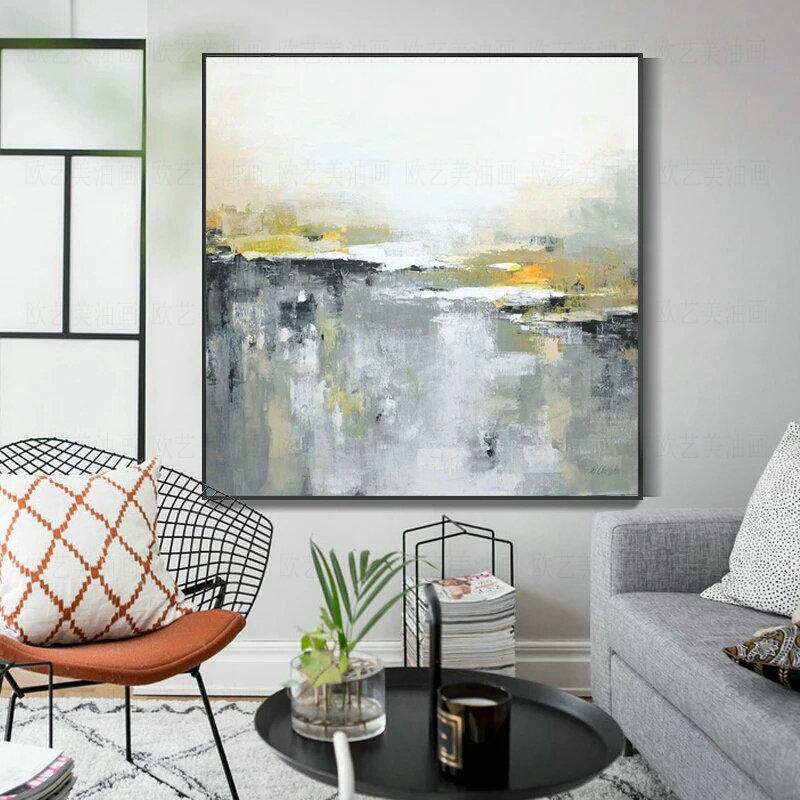 纯手绘油画北欧风格客厅玄关挂画