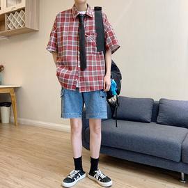 LES帅T林弯弯夏季复古BF风情侣格子衬衣男女宽松oversize衬衫外套图片