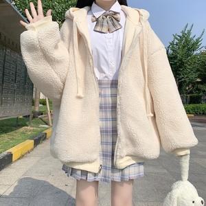 软妹日系可爱两面穿连帽jk制服羊羔毛卫衣外套女秋冬加绒加厚学生