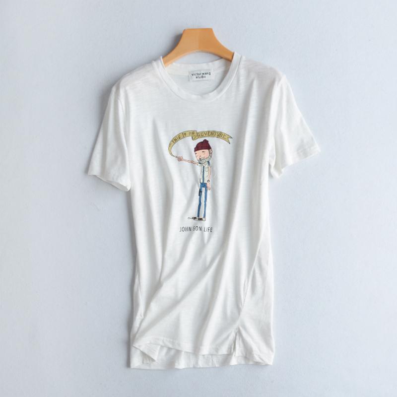 卡通貼布純棉短袖T恤女中長款2018夏季新款韓版寬鬆大碼彈力體恤