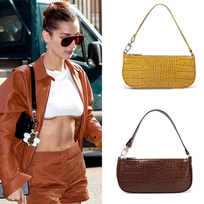 Crocodile pattern Handbag niche design single shoulder bag kendou same type underarm bag French stick bag shoulder bag