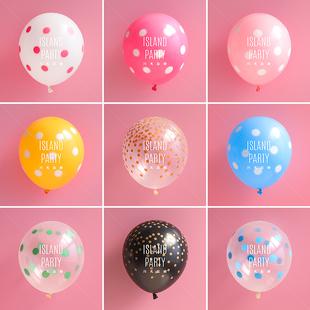 韩国12寸乳橡胶波点大圆点印花飘空进口气球装饰生日派对结婚儿童