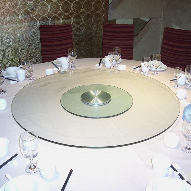 酒店转盘餐桌钢化玻璃转台饭店圆桌转盘1.3/1.4/1.5/1.6/1.8米2米