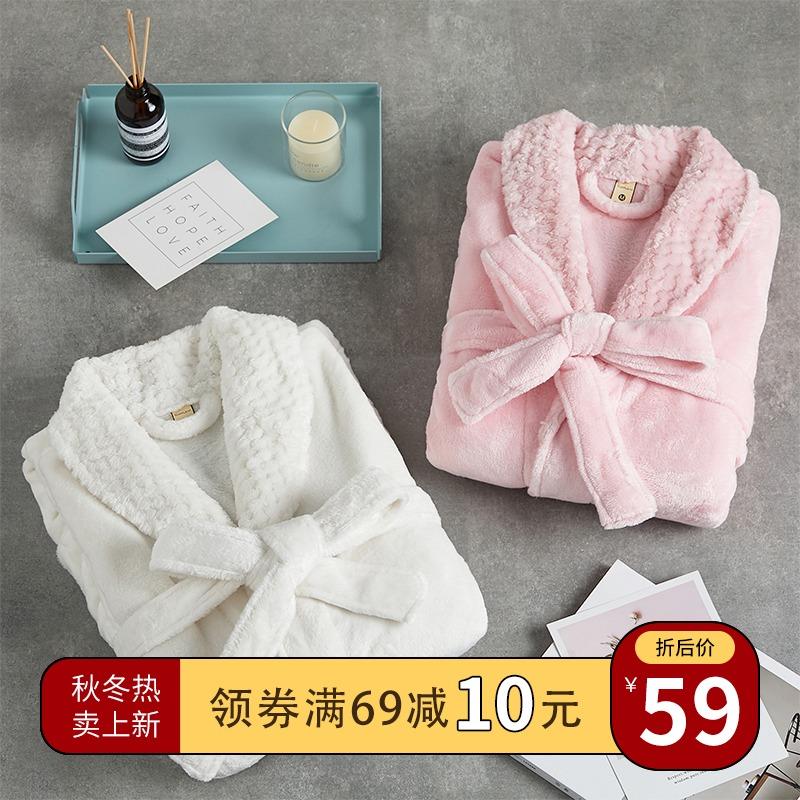 睡袍女冬季情侣一对珊瑚绒浴袍加绒加厚法兰绒男士睡衣秋冬加长款
