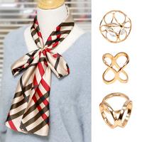 絲巾扣簡約X型環百搭兩用韓版優雅三環扣方巾扣圍巾扣衣角打結扣