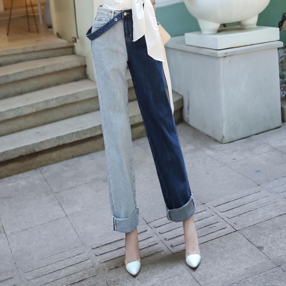 阔腿水洗高腰直筒显瘦新款牛仔裤