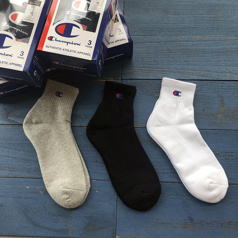 3双盒装纯棉男士中筒冠军运动袜子
