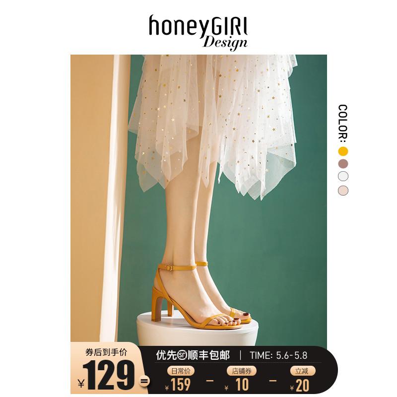 honeyGIRL一字带凉鞋女仙女风2021夏季新款高跟鞋女鞋粗跟露趾鞋