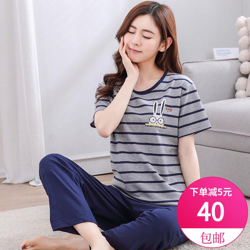 パジャマの女性純綿ゆったり韓国バージョンの大きいサイズの半袖のズボンのショートパンツの女性半袖のかわいい家庭服のカジュアルな2点セット