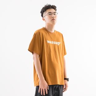 【现货】WASSUP18SS5色logoT男圆领印花纯色半袖纯棉打底衫短袖