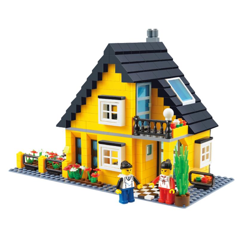萬格城市別墅積木玩具益智拚裝兒童玩具顆粒拚插塑料3~6周歲男女