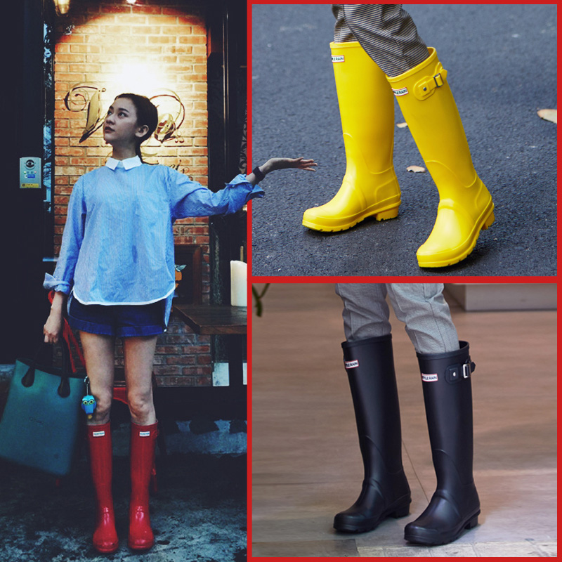 Rain shoes women's water shoes high tube long tube fashion wear rubber shoes waterproof and antiskid overshoes adult water boots rain boots women
