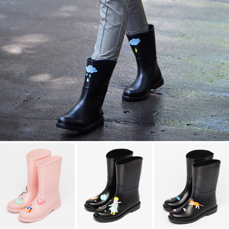 Rain boots ladies water shoes fashion outer wear plus velvet thick rubber shoes waterproof non-slip water boots overshoes women rain boots