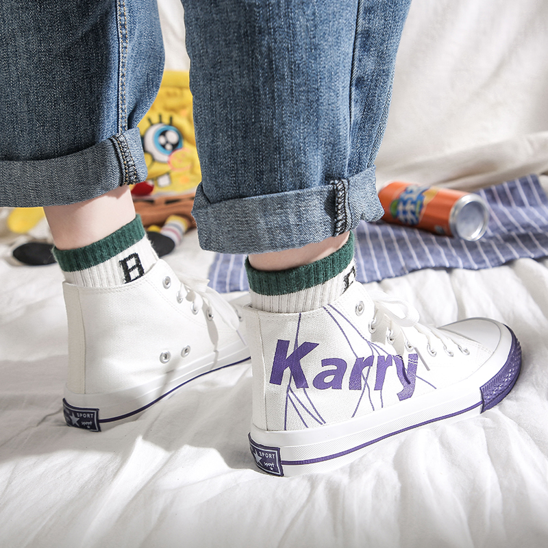 Karry Wang Junkai 2019 new small crab high top canvas shoes for female students
