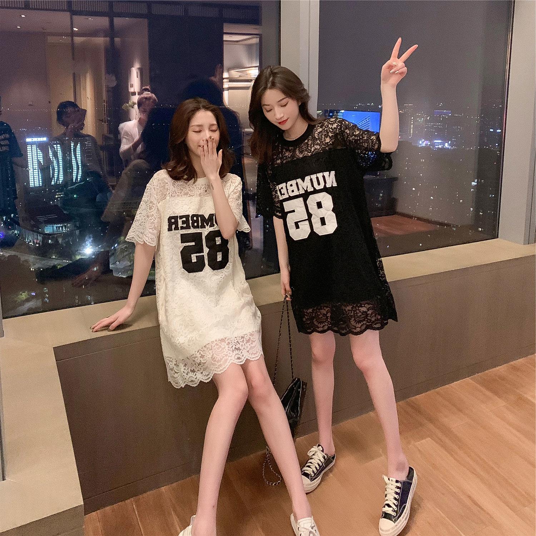 限4000张券2019春夏新款韩版中长款字母连衣裙
