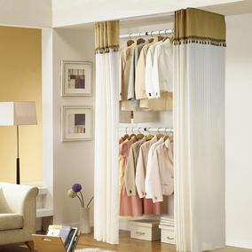 顶天立地落地卧室开放式简易衣帽架