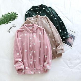 情侣珊瑚绒睡衣女秋冬季加绒加厚开衫单件上衣纯色男法兰绒家居服