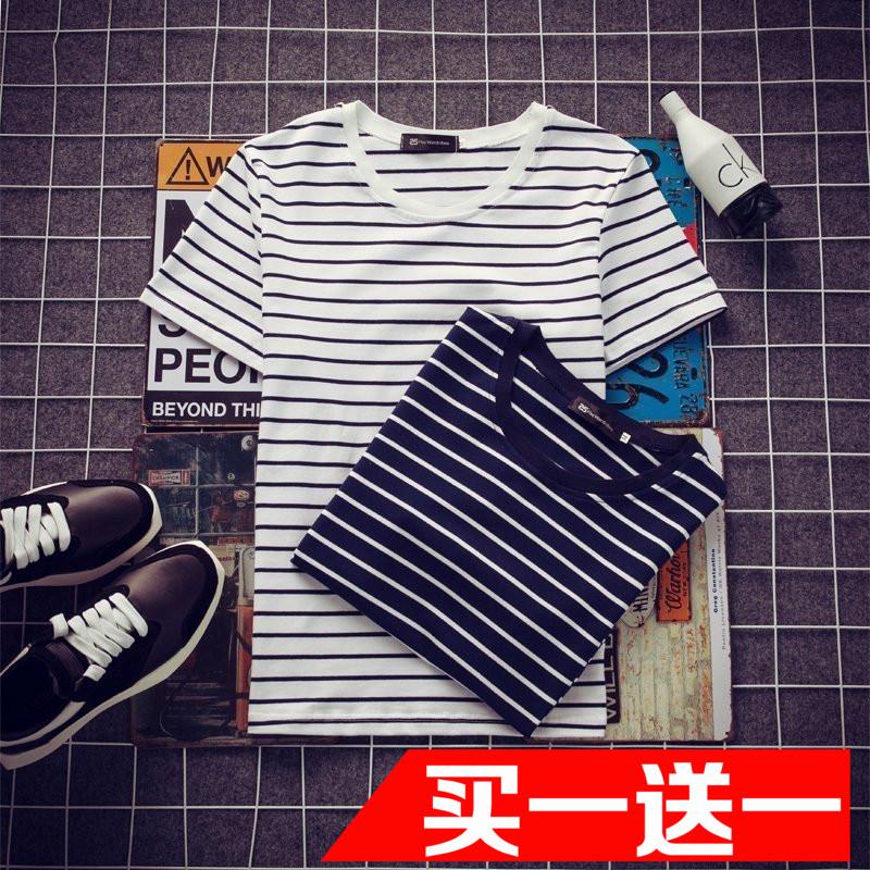 夏季男士短袖T恤 韓版修身圓領半袖條紋體恤大碼上衣潮流男裝衣服