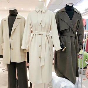 韩国冬季毛呢大衣韩版宽松收腰显瘦系带中长款风双面呢外套