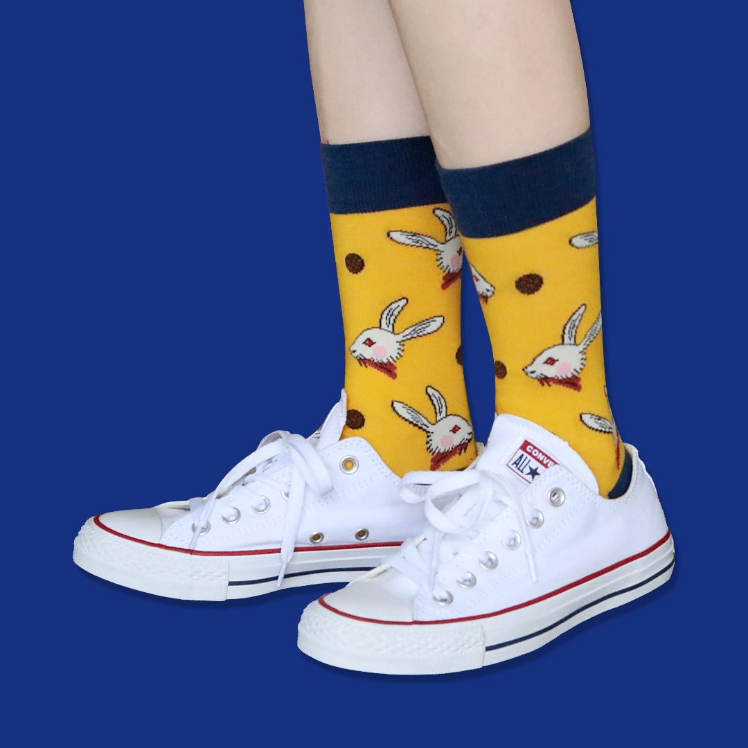 少女系列 复古插画兔子ins超火星星女孩中筒袜子女四季纯棉堆堆袜