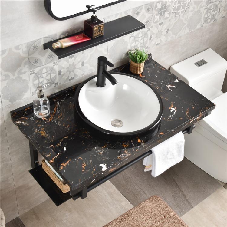 简易大理石台面小户型浴室柜台中盆有赠品