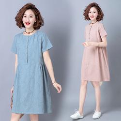 素木女装中长款宽松休闲连衣裙小个子遮肚洋气A字裙子2020新款夏