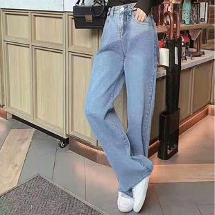 卡迪尔2019夏季新款薄款直筒高腰修身显瘦阔脚裤蓝色百搭休闲裤