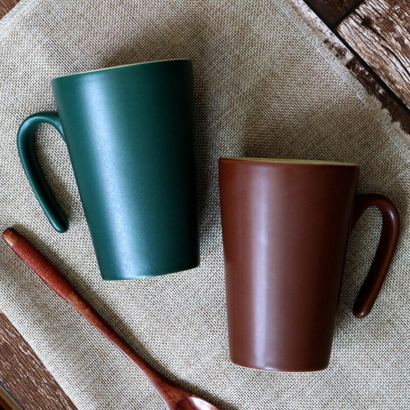 【买三送一送同款】陶瓷杯带盖马克杯奶茶店咖啡杯水杯酒店包邮