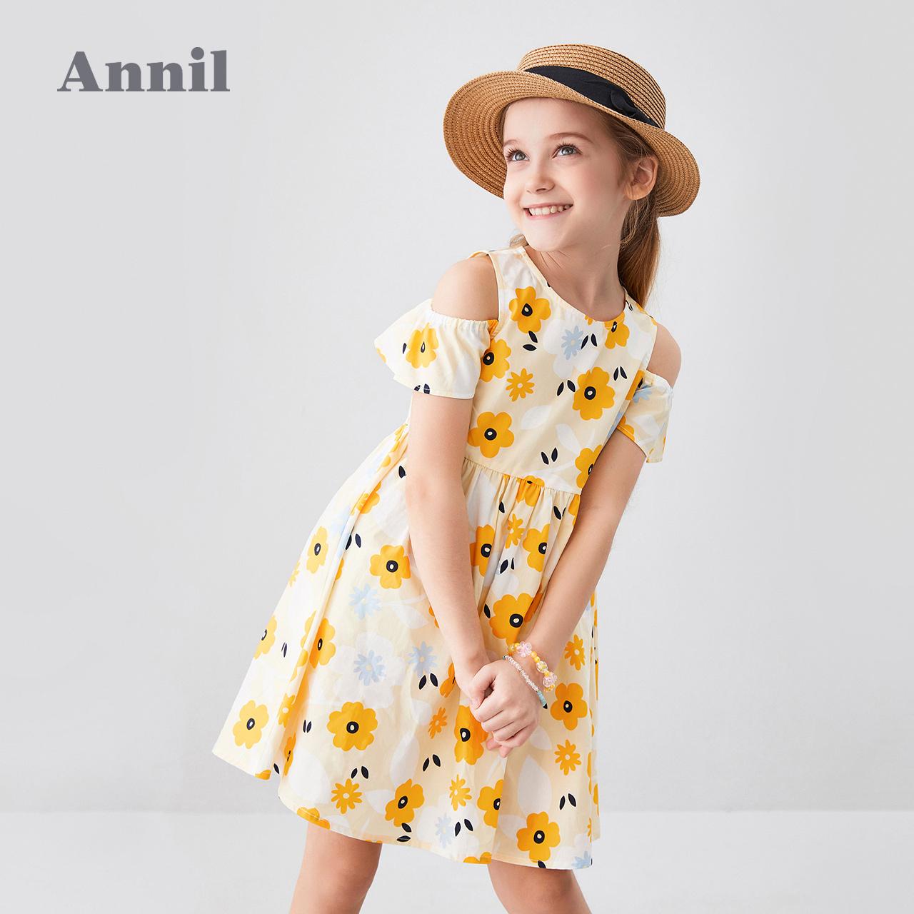 安奈儿童装女童连衣裙纯棉2020夏季新款洋气碎花中大童女孩裙透气