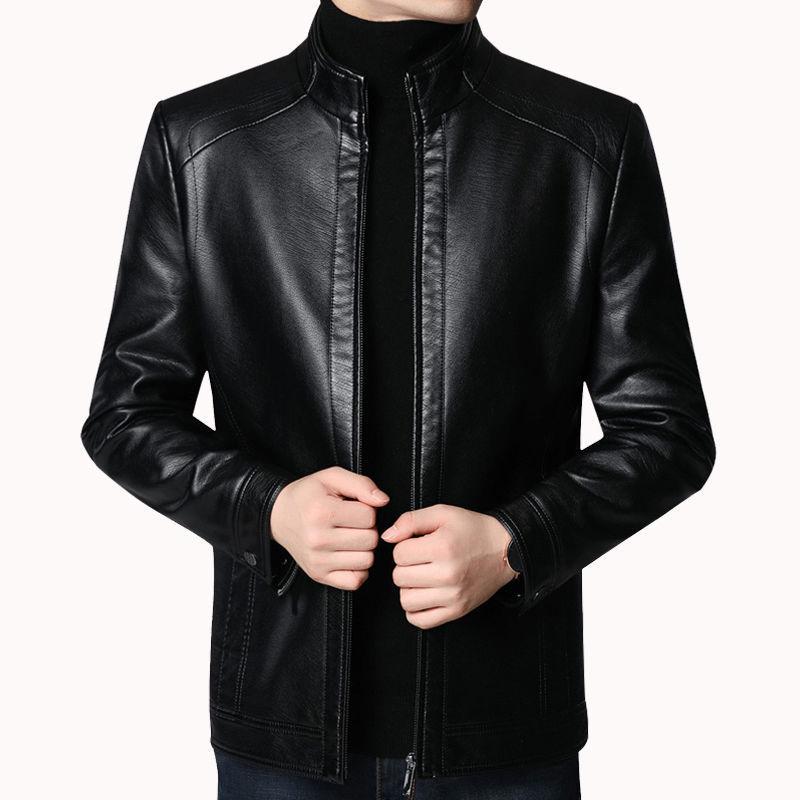 2021新しいお父さんの皮の服秋冬の皮のジャンパーの男性の襟を翻して春の服装のジャケットの中で老年の柔らかい皮のプラスの絨のオーバー。