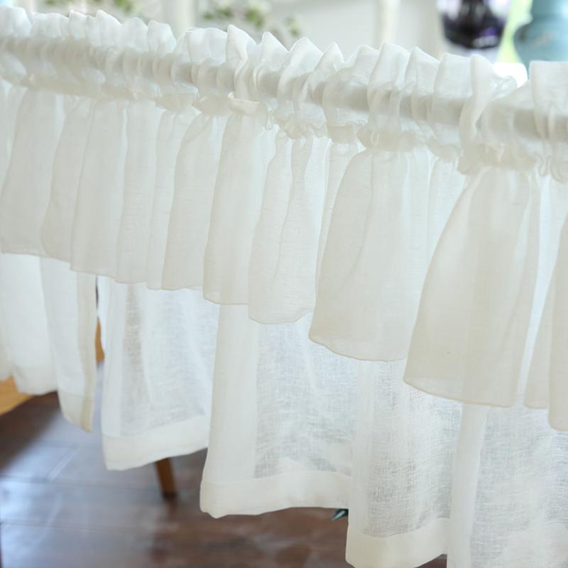 特价小清新成品纱卧室穿杆咖啡帘