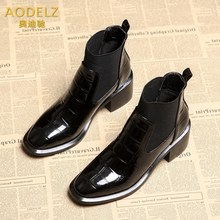 High-end customized brand AODELZ crocodile-striped naked boots children's Boots New Leather thick-heeled Martin boots and ankle boots