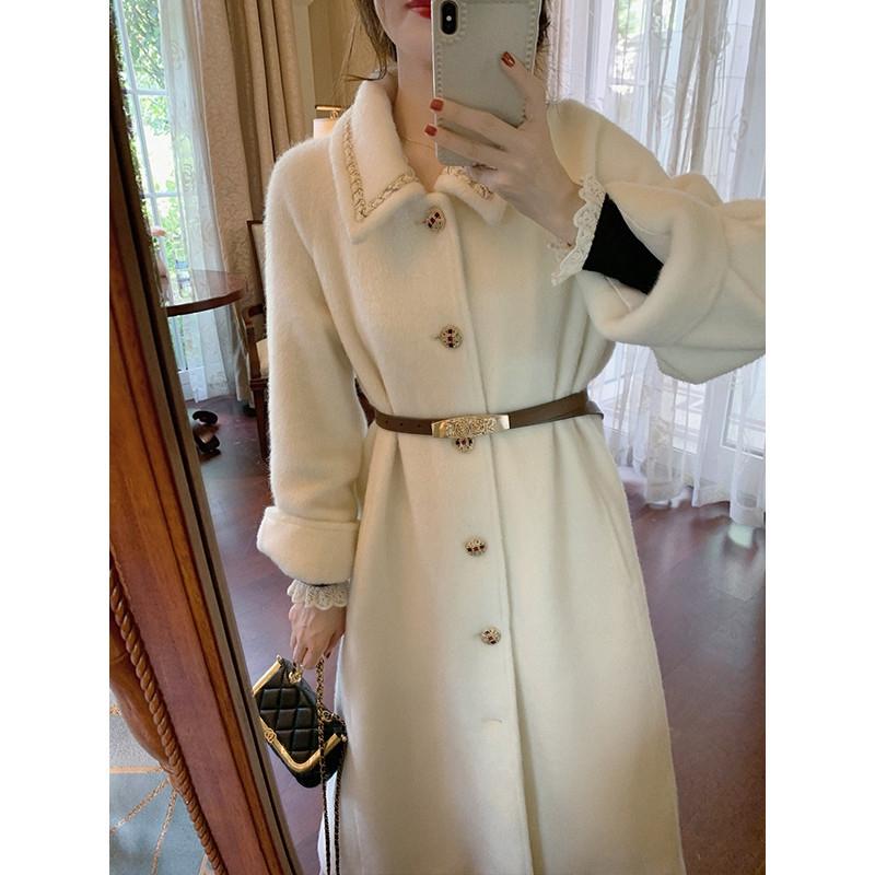 Retro light ripe suede wool coat womens 2020 new style loose woolen coat
