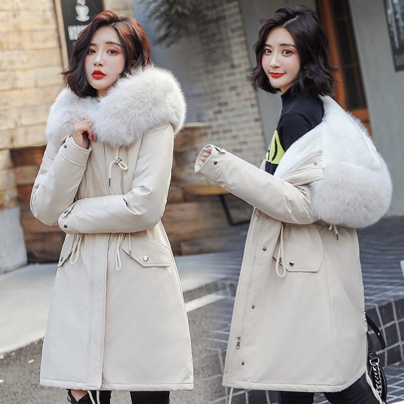 反季棉服女中长款韩版修身羽绒棉衣2019年新款大毛领加厚棉袄外套