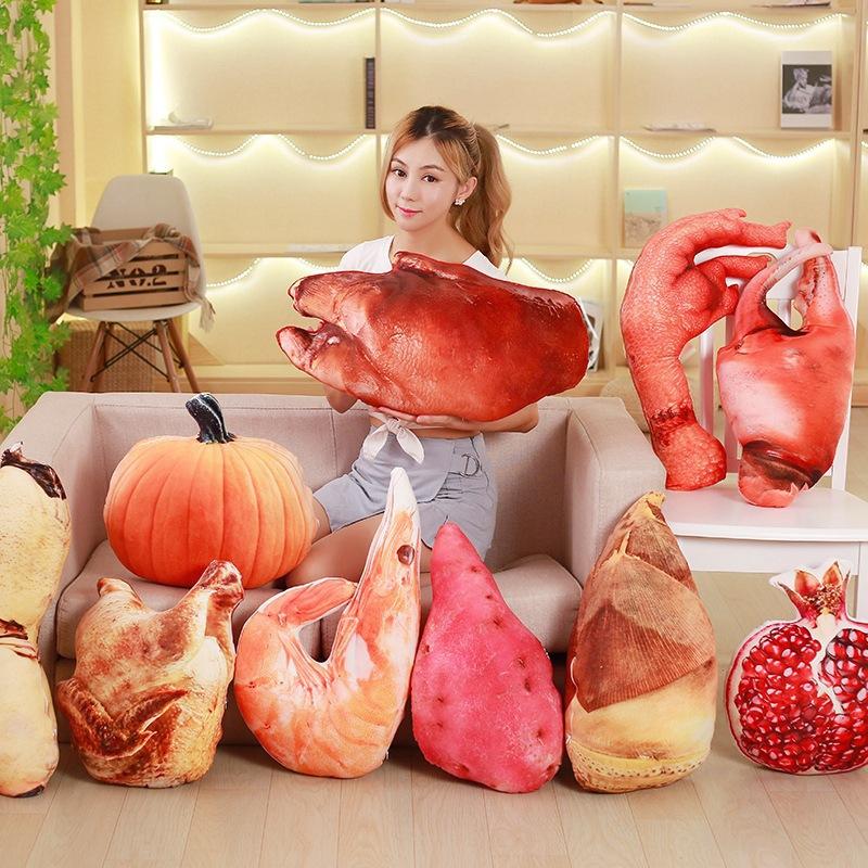 创意仿真美味食物毛绒抱枕玩具鸡爪竹笋石榴沙发靠玩偶