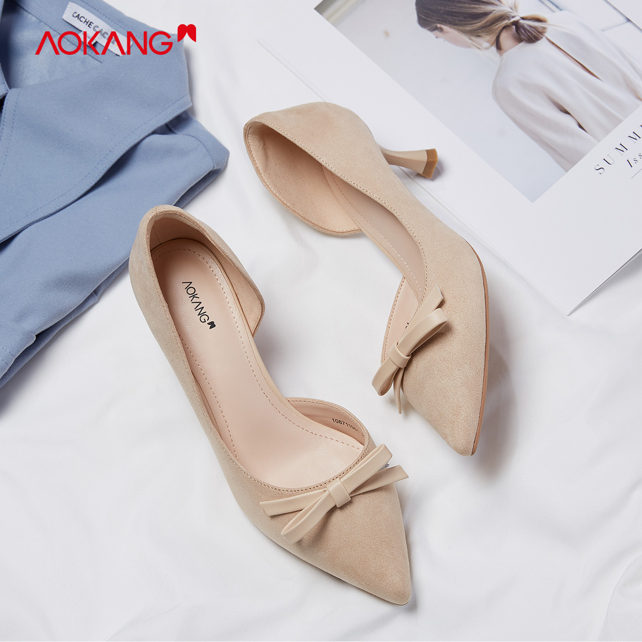 Aokang womens shoes single shoes summer 2020 new pointy bow shallow scoop shoes middle heel flannelette Aosai shoes high heels