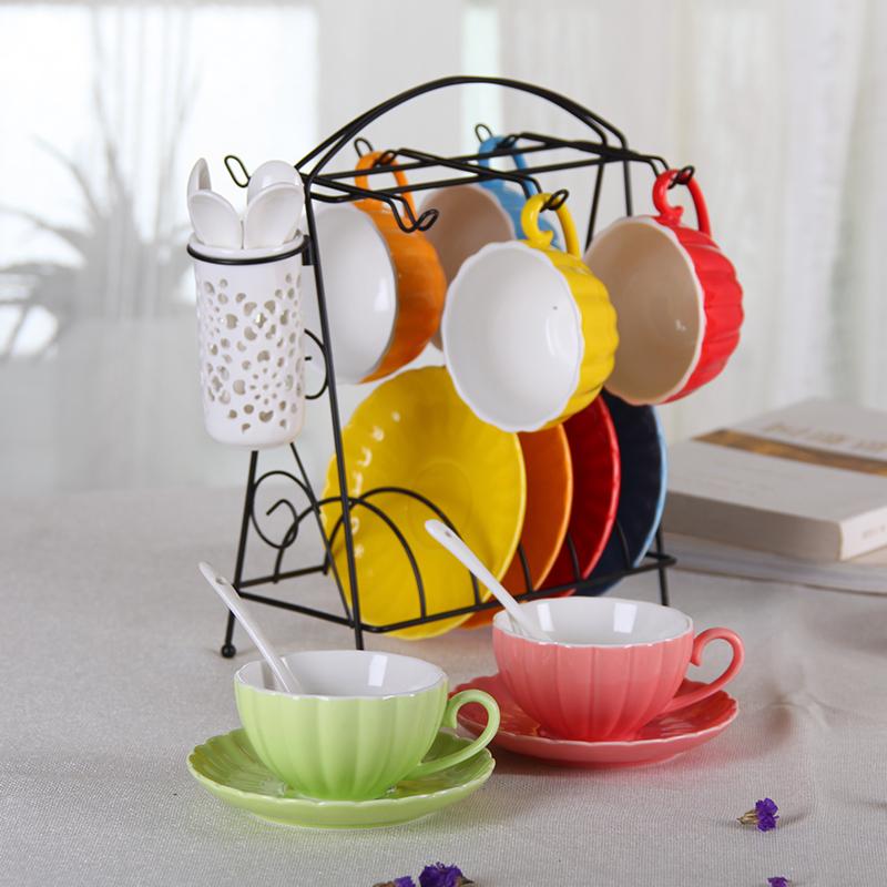 欧式茶具家用创意咖啡杯带碟勺骨瓷马克水杯子陶瓷简约咖啡杯套装