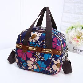 中年女包包休闲尼龙手提包中老年斜挎包时尚百搭单肩妈妈小花布包